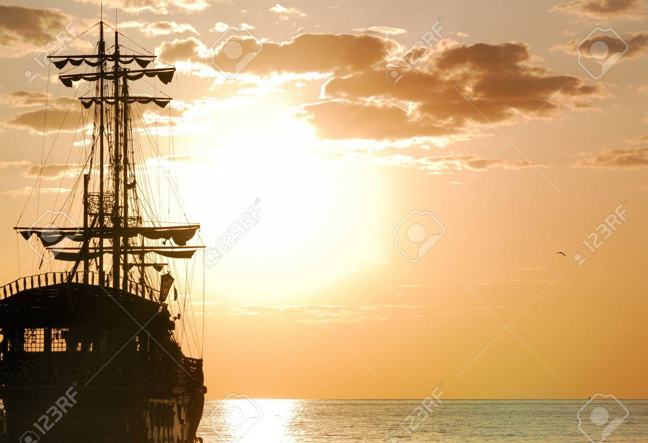 pirates ship at sea in horizontal orientation stock photo picture