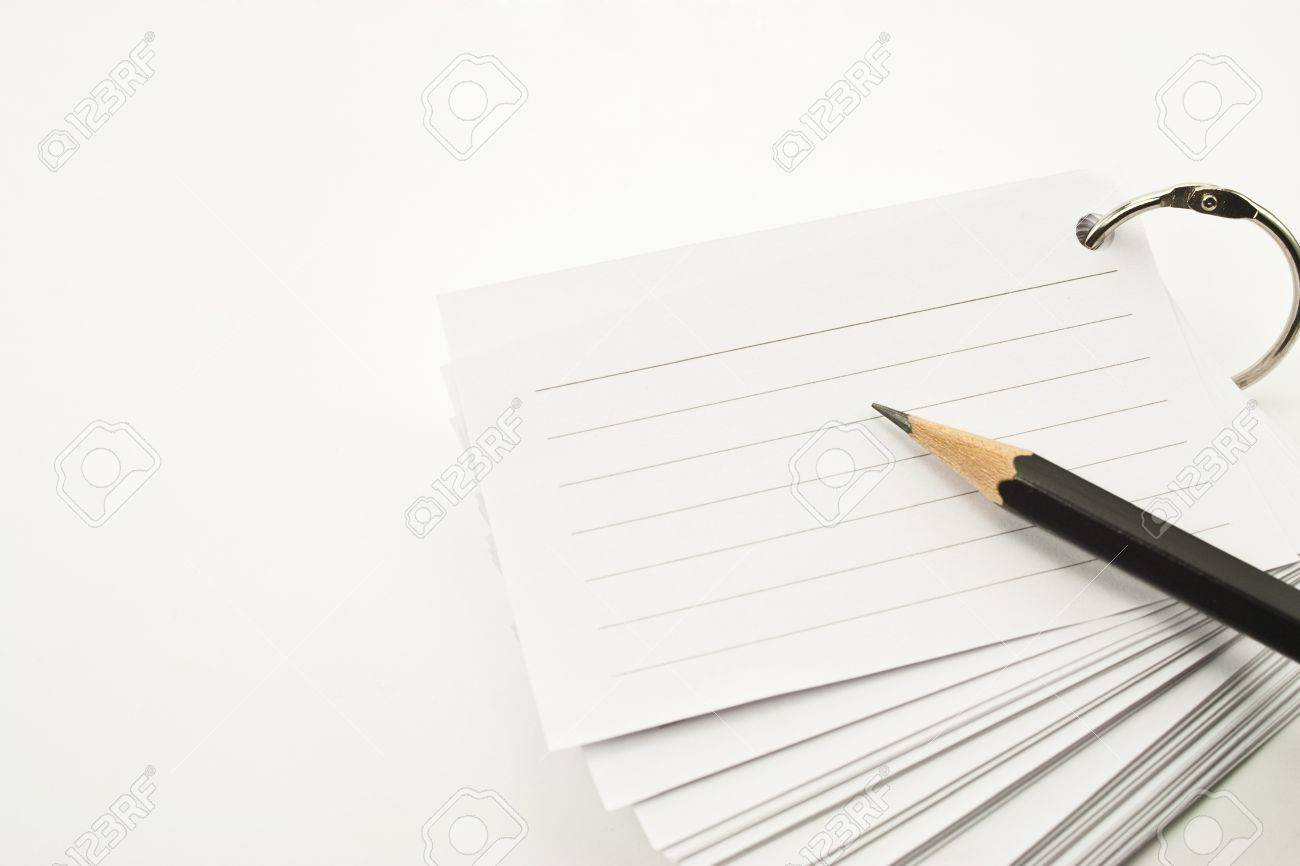 book of lined paper white ring binder and pencil on white background Stock Photo - 12741363