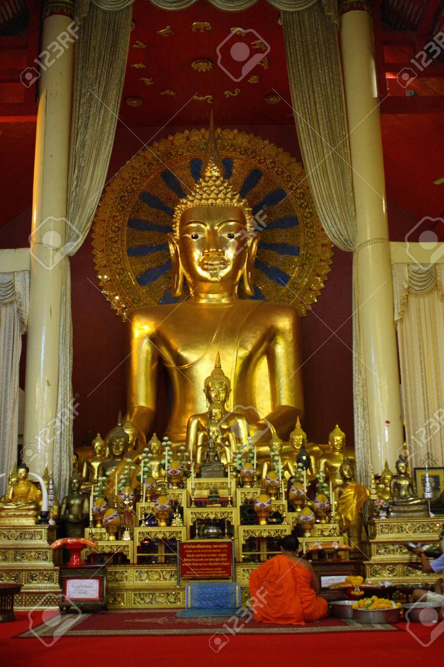 Buddha image in church of Wat Phra Sing, Chiang Mai, Thailadn Stock Photo - 16628699