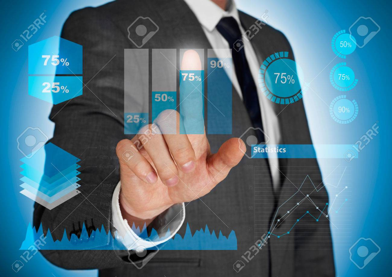 Businessman Showing Graphic On Diagram Stock Photo, Picture And ...
