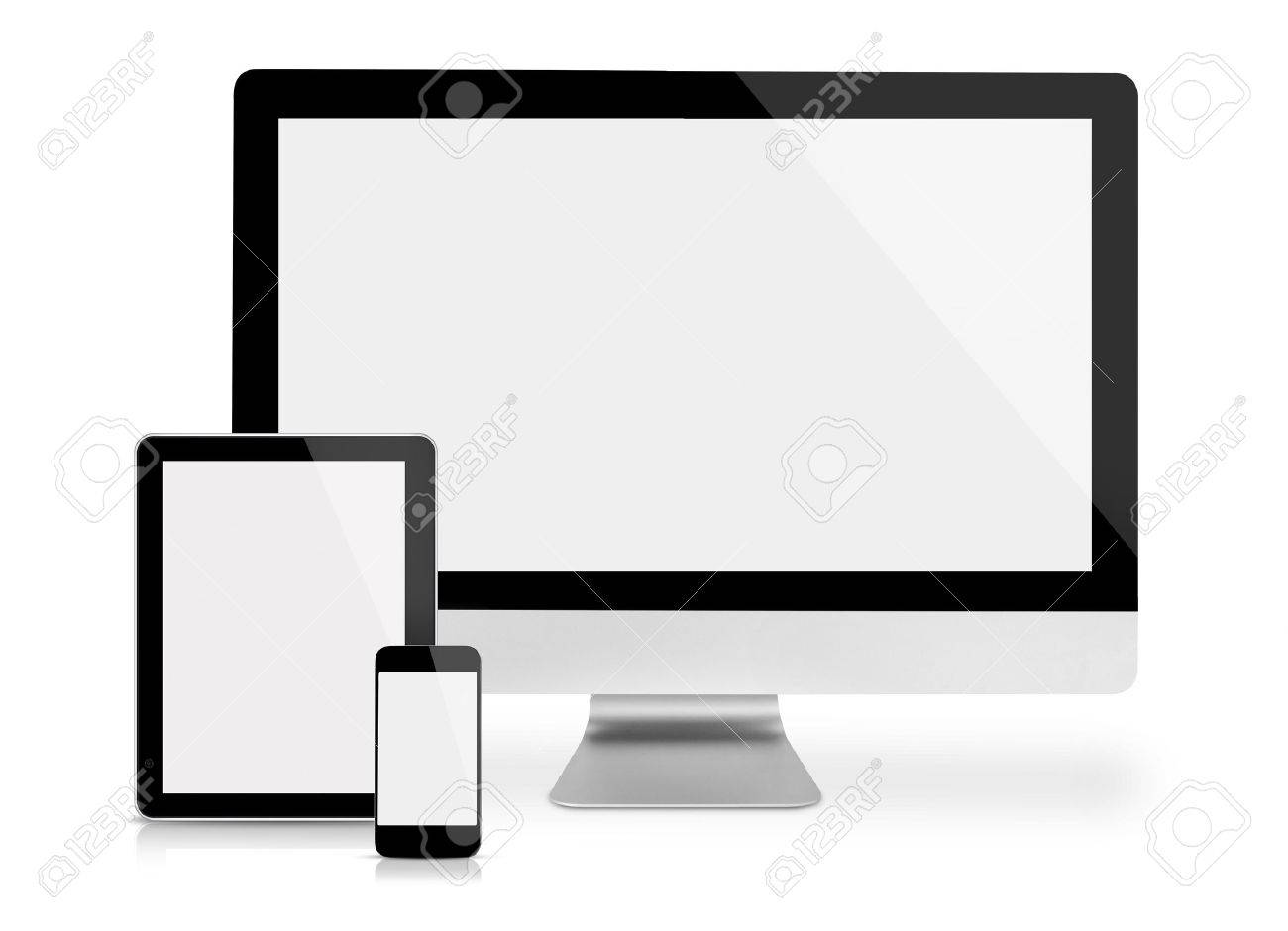 Computer monitor, tablet and phone, frontal view, isolated on white - 36237327