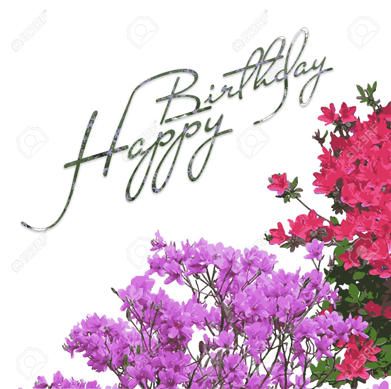 Happy Birthday Flowers Greeting Card Vector Picture Stock
