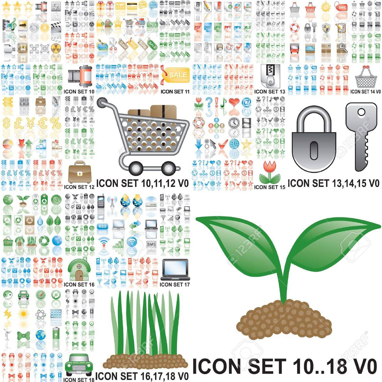 Over 150 icons. Set 10..18. Variant in black, red, blue, green. Isolated groups and layers. Stock Photo - 7436450
