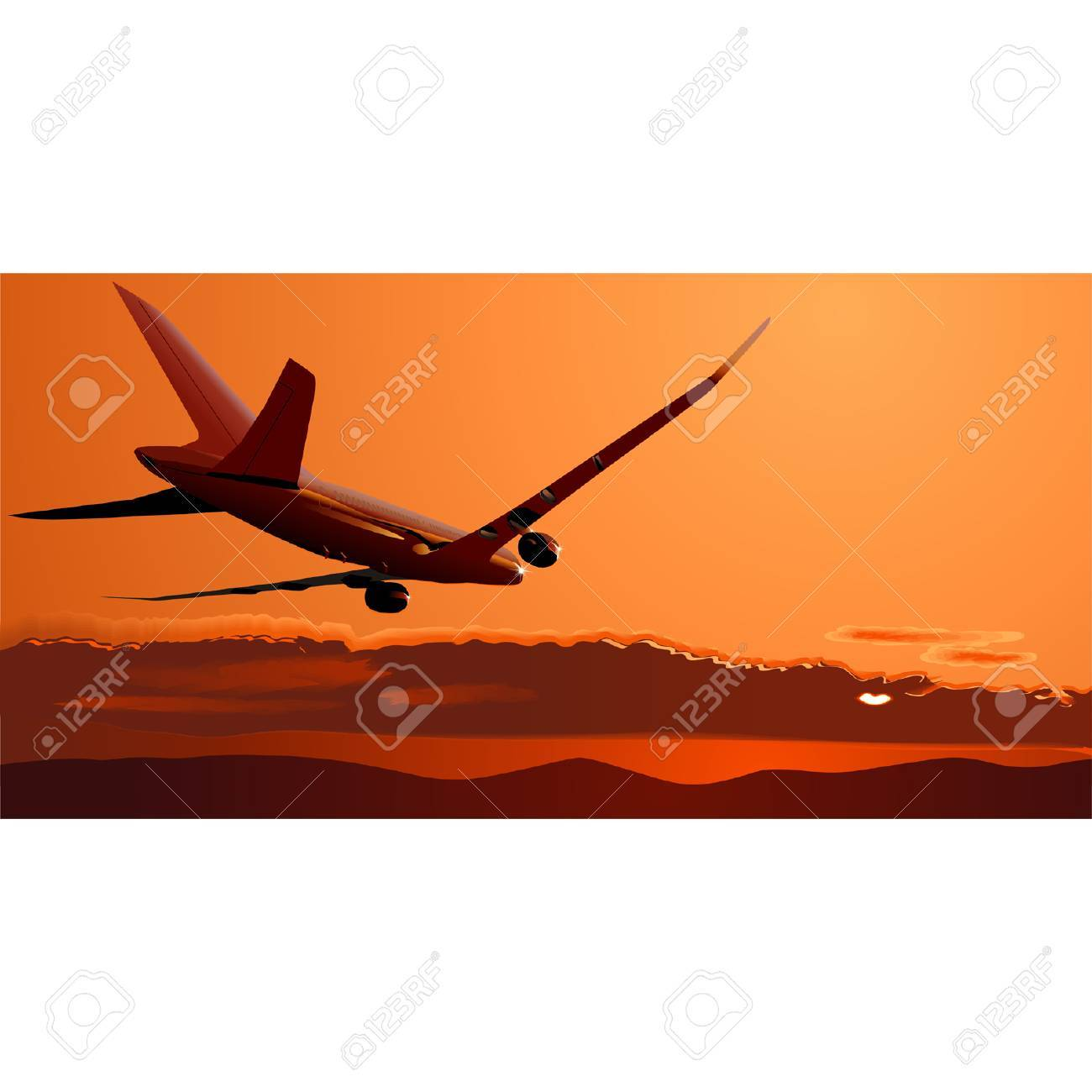 Vector Boeing-787 at sunset Stock Vector - 4025279