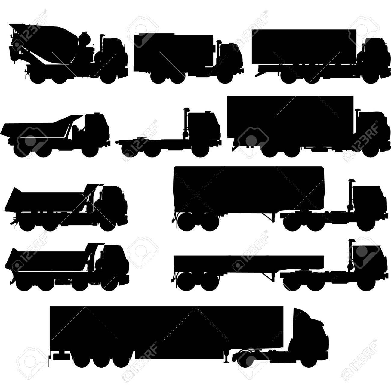 Semi Truck Silhouette Silhouettes Set Semi