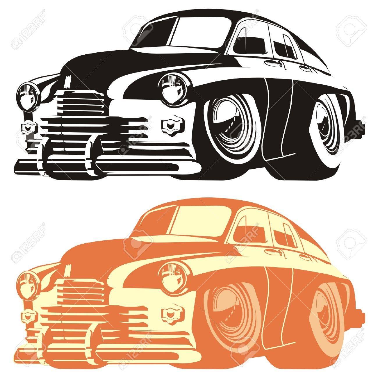 Vector silhouette cartoon retro car Stock Vector - 4344099