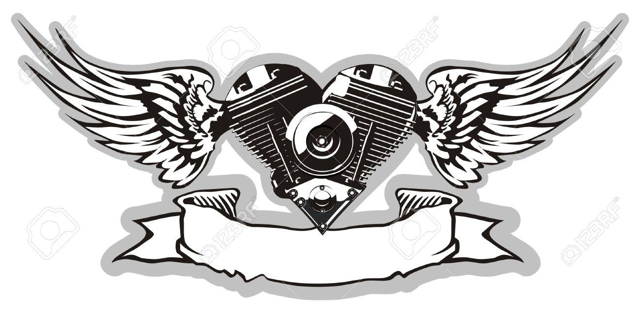 Motorcycle with biker tattoo - Vector Motorheart 2 Stock Vector 4737500 Vector Motorheart 2 Motorcycle Biker Tattoo