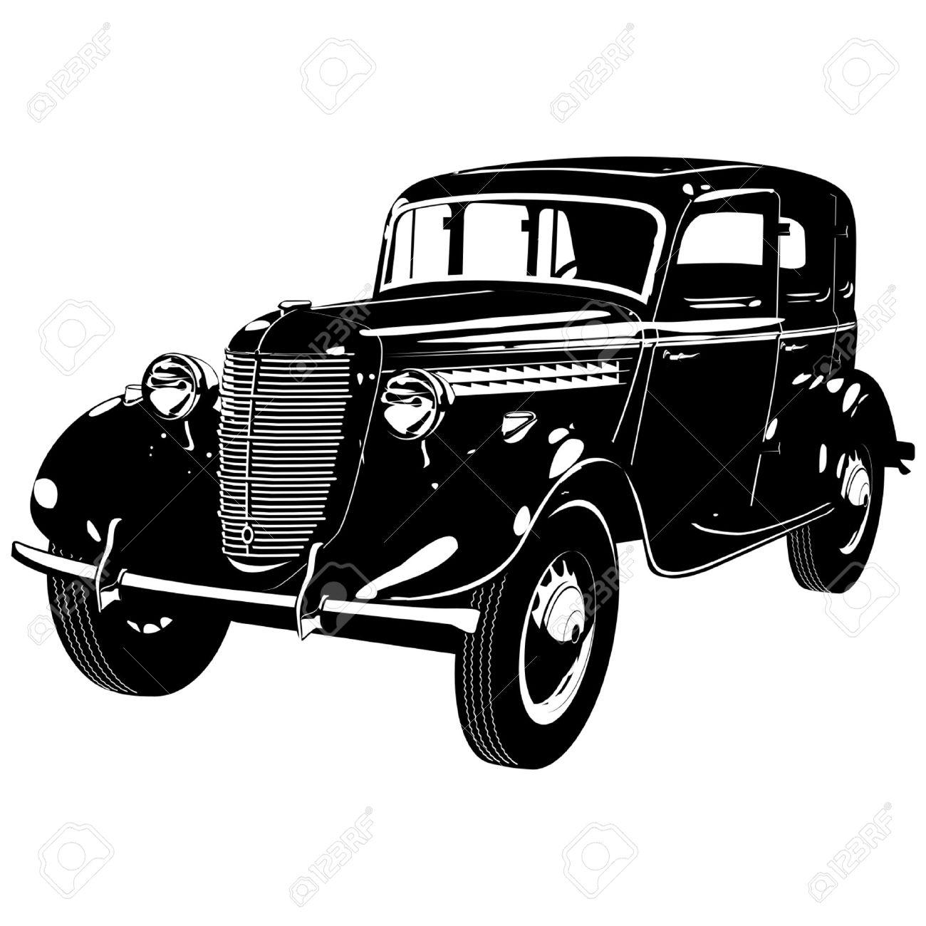 レトロな車のベクトル シルエット ロイヤリティフリークリップアート