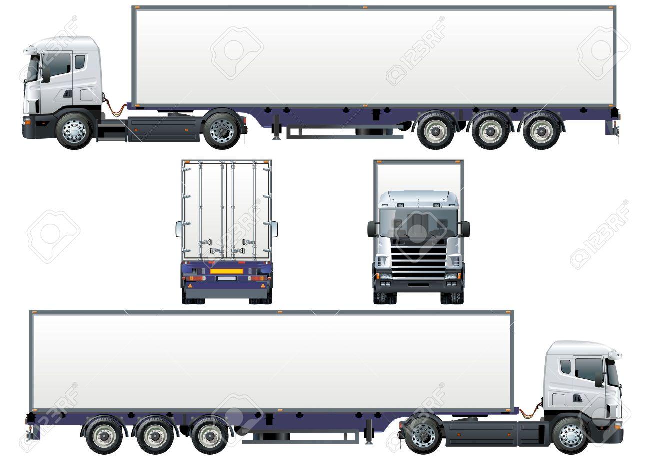 Semi Truck Front Vector Vector Cargo Semi Truck