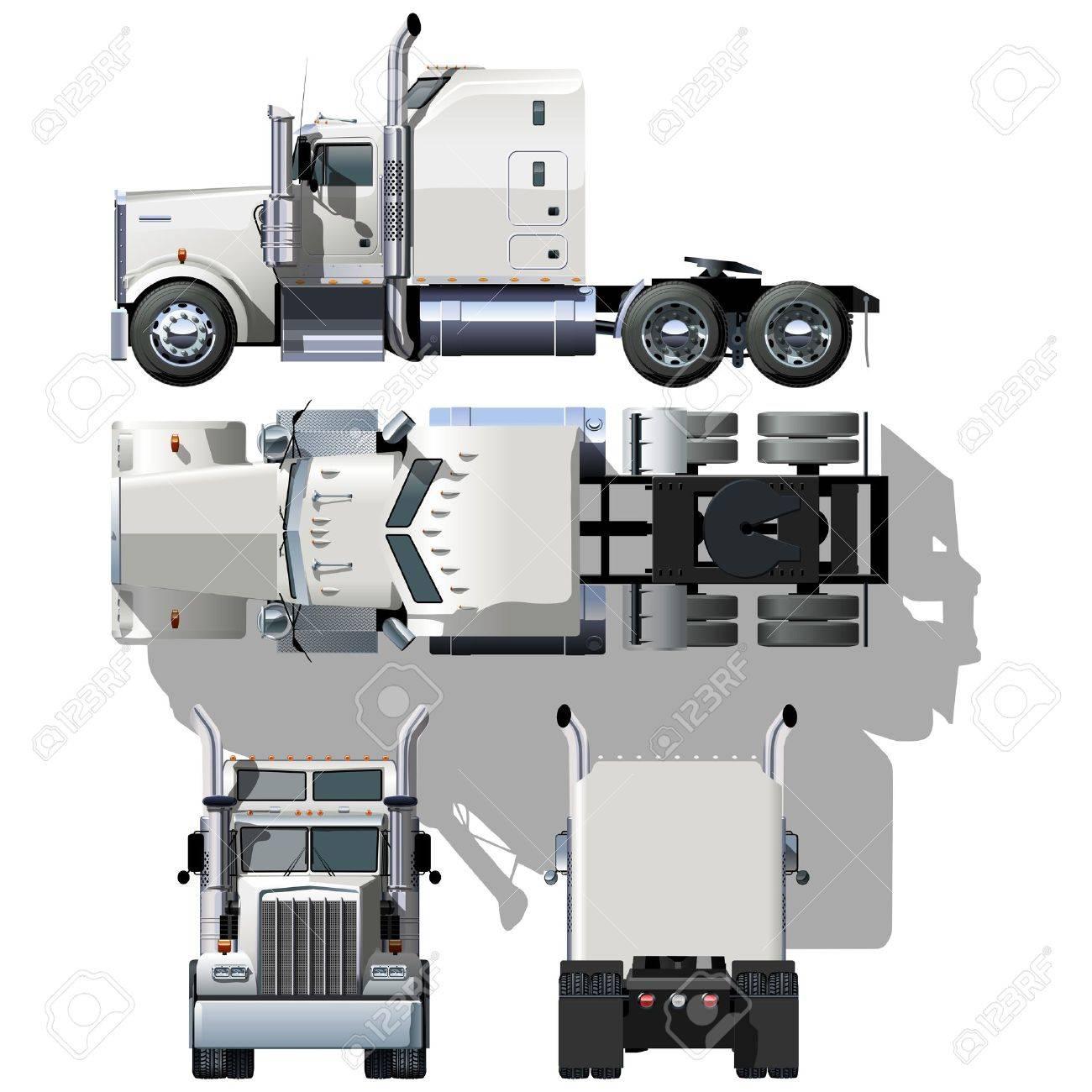 Semi Truck Side View Vector hi Detailed Semi Truck View