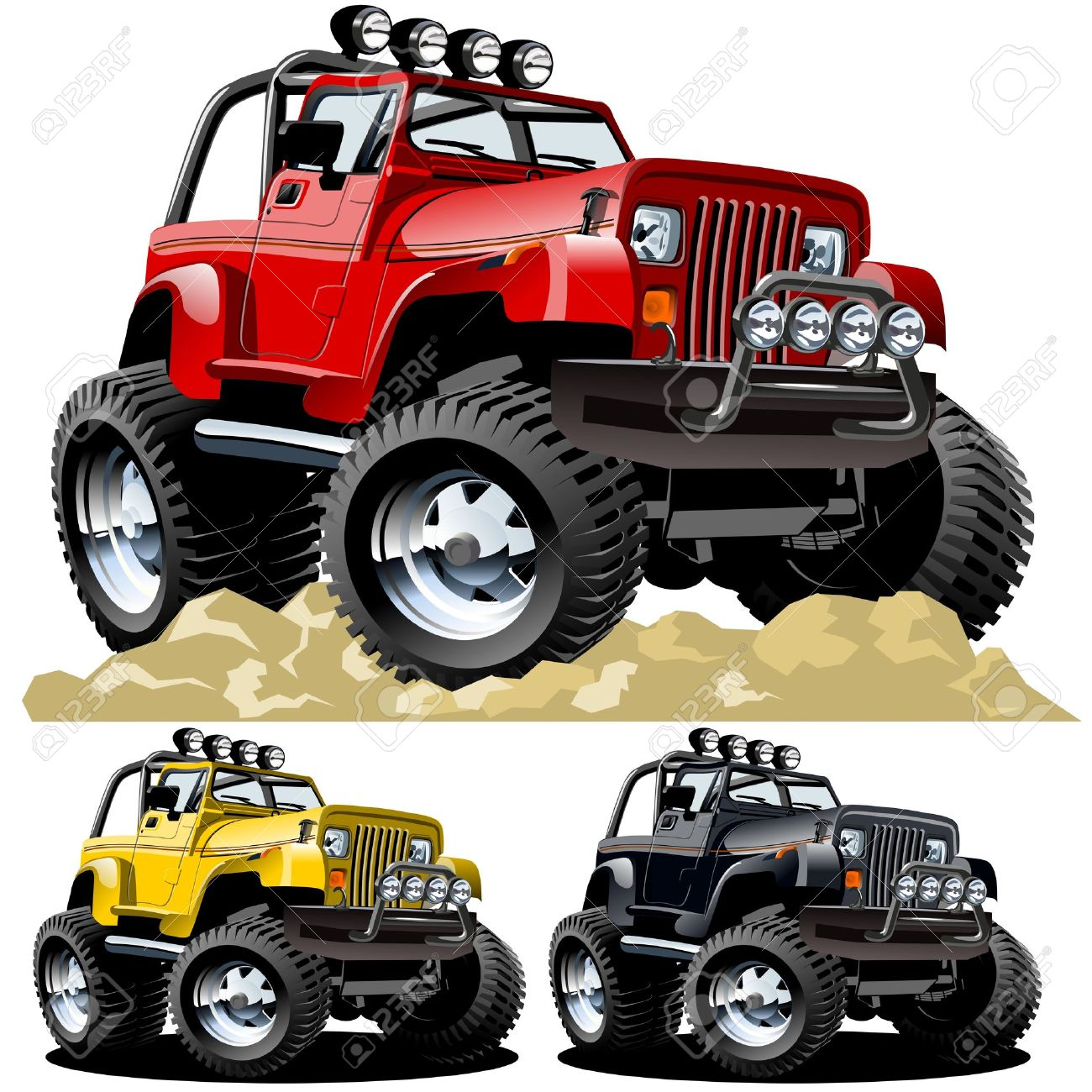 Vector Cartoon Jeep One-click Repaint Royalty Free Cliparts, Vectors