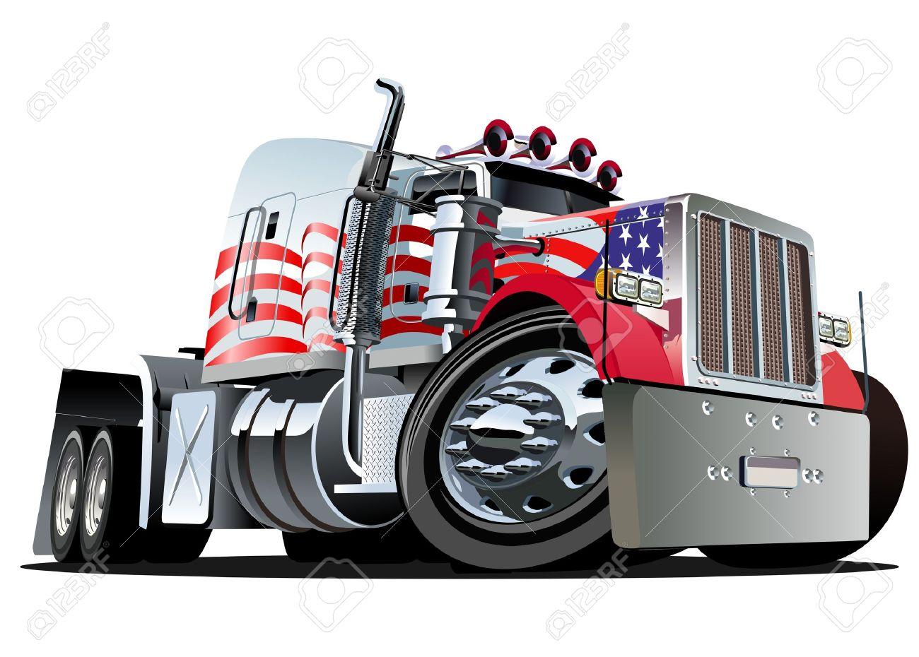Vector cartoon semi truck - 11995001
