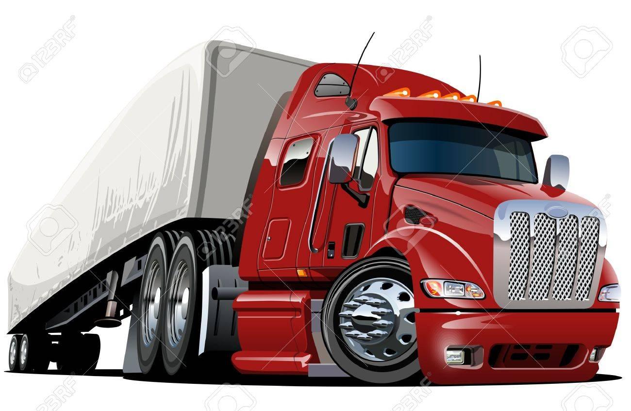 cartoon semi truck one-click repaint - 12496123