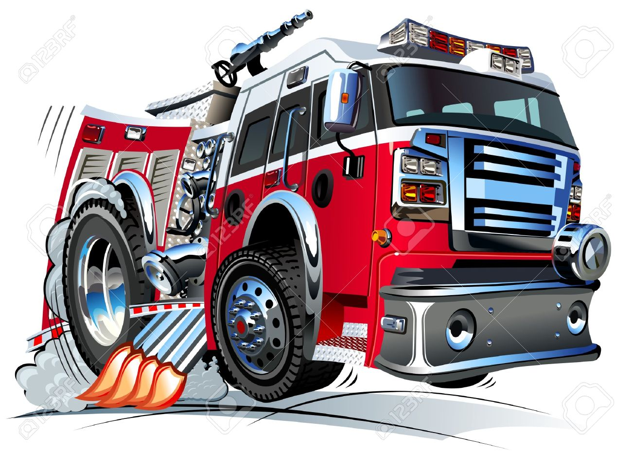 Vector Cartoon Fire Truck Hotrod Royalty Free Cliparts, Vectors ...
