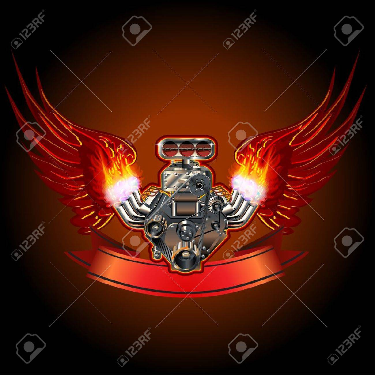 Turbo Engine with Wings Stock Vector - 17925903