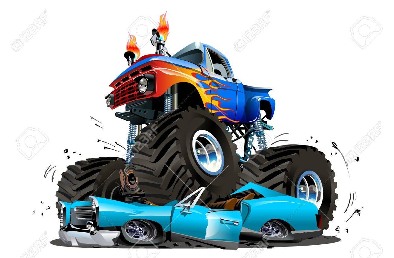 Vector Monster Truck De Dessin Animé Disponible Eps 10 Séparés Par