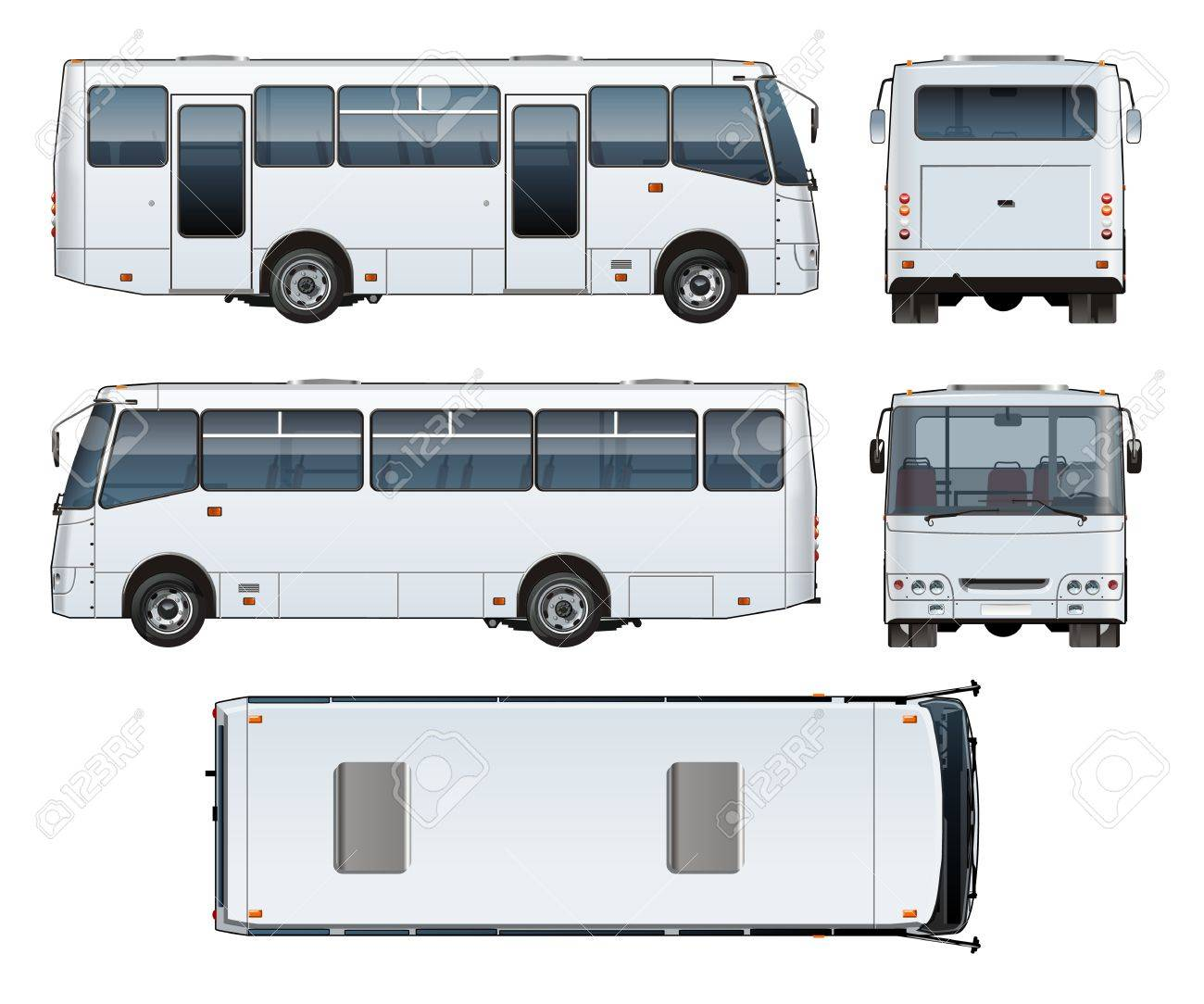 Vector Realistic Urban Passenger Mini Bus Mock Up For Brand Identity