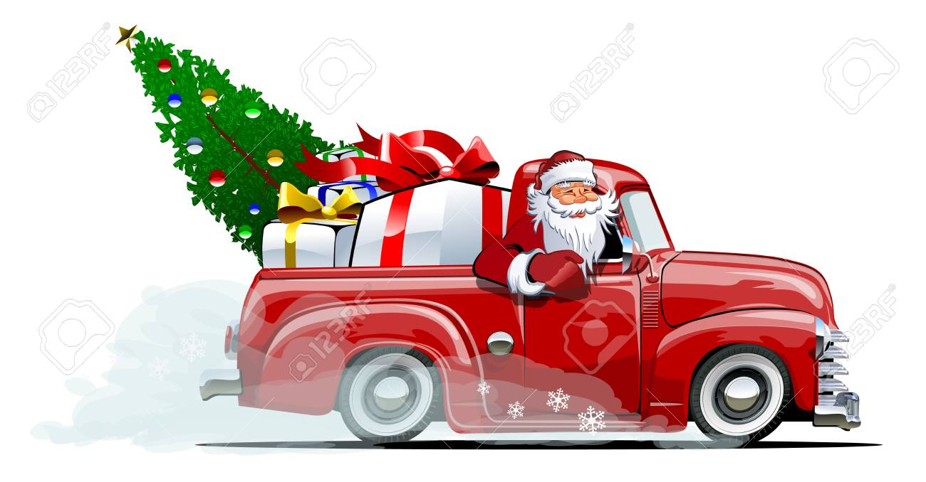 Cartoon retro Christmas delivery pickup. Available eps-10 vector format separated by groups with transparency effects for one-click repaint - 90216940