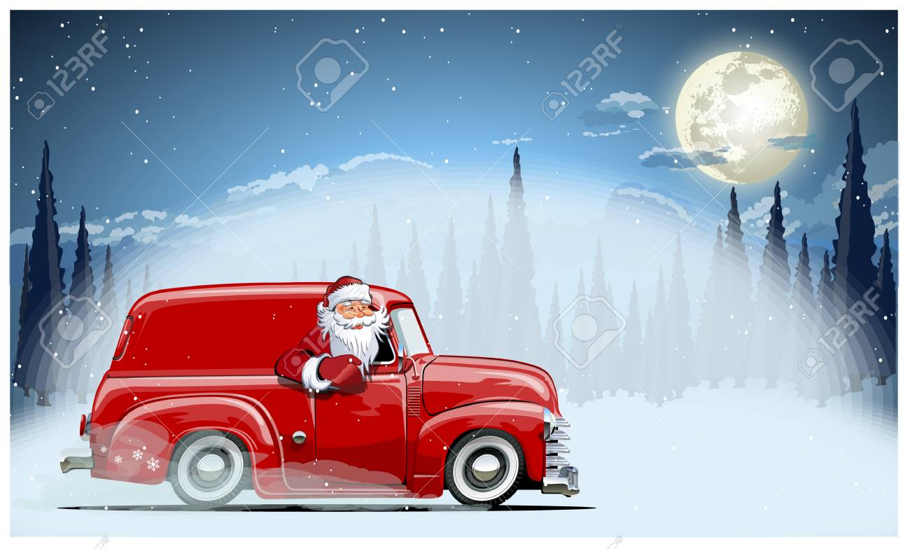 A Vector Christmas Card background illustration of Santa Claus on the car. Available EPS-10 format separated by groups and layers for easy edit - 90527177