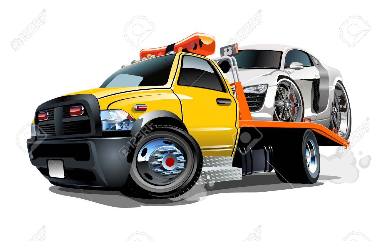 Cartoon tow truck isolated on white background. Available vector format separated by groups and layers for easy edit - 99612310