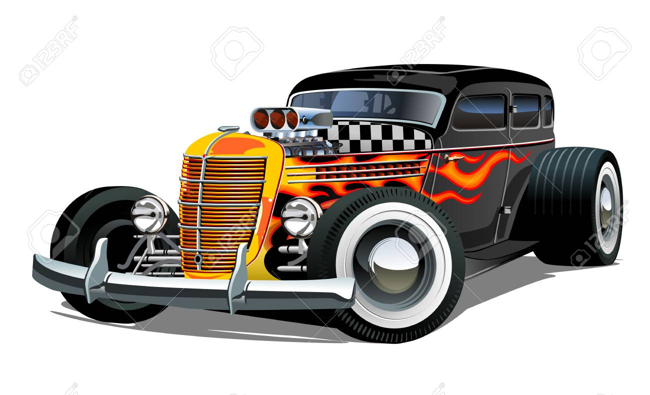 Cartoon retro hot rod isolated on white background. Available EPS-10 vector format separated by groups and layers for easy edit - 109838350
