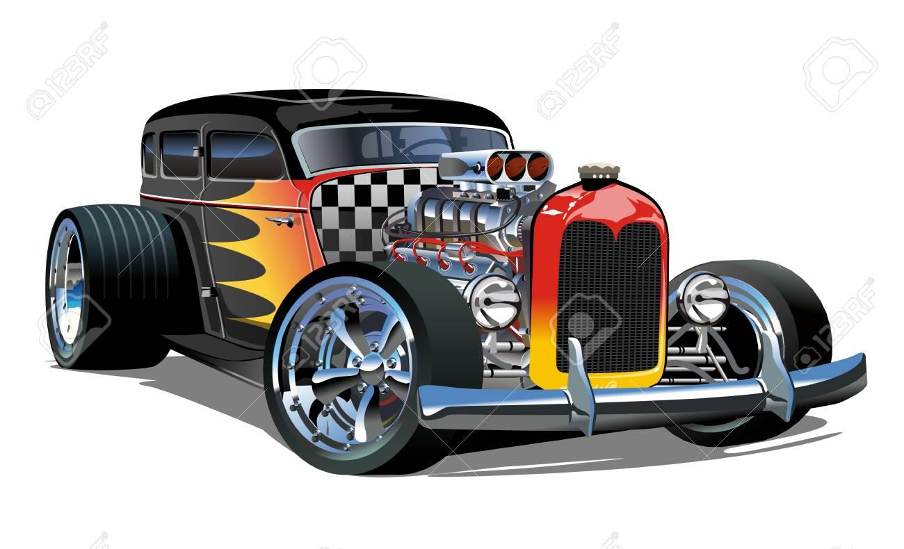 Cartoon retro hot rod isolated on white background. - 112132653