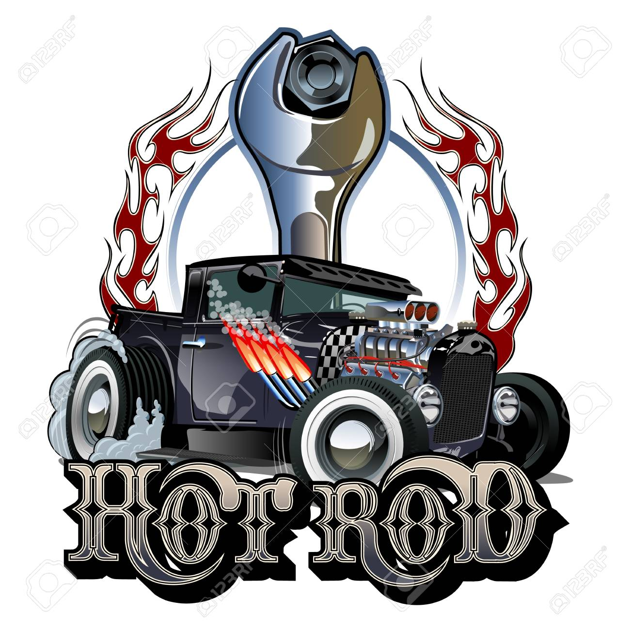 Cartoon Retro Hot Rod Poster Royalty Free Cliparts Vectors And Stock Illustration Image 112132658