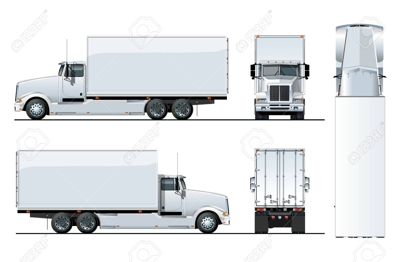 Vector truck template isolated on white for car branding and advertising. Available EPS-10 separated by groups and layers. - 144096039