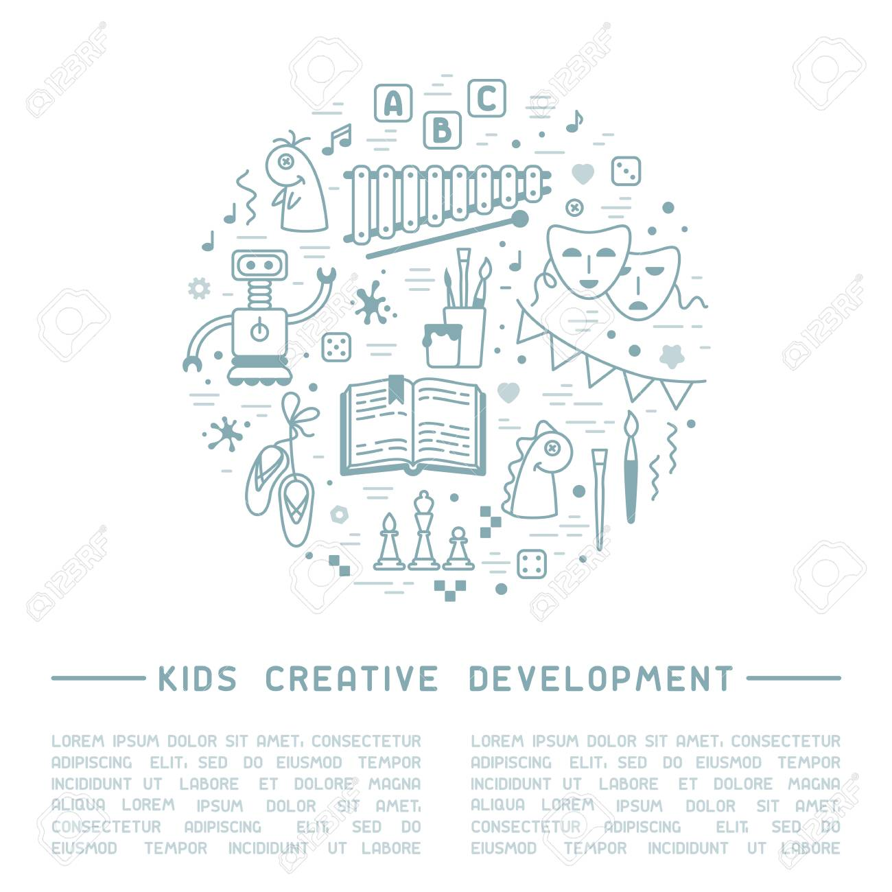 Kids creative development info poster with kids things and sample text. Linear style vector illustration - 117014547