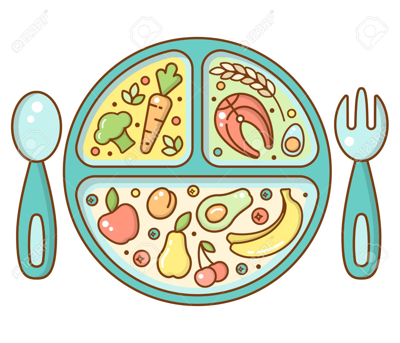 Baby Food Plate In Bright Cartoon Style Suitable For Advertising Royalty Free Cliparts Vectors And Stock Illustration Image 123158896