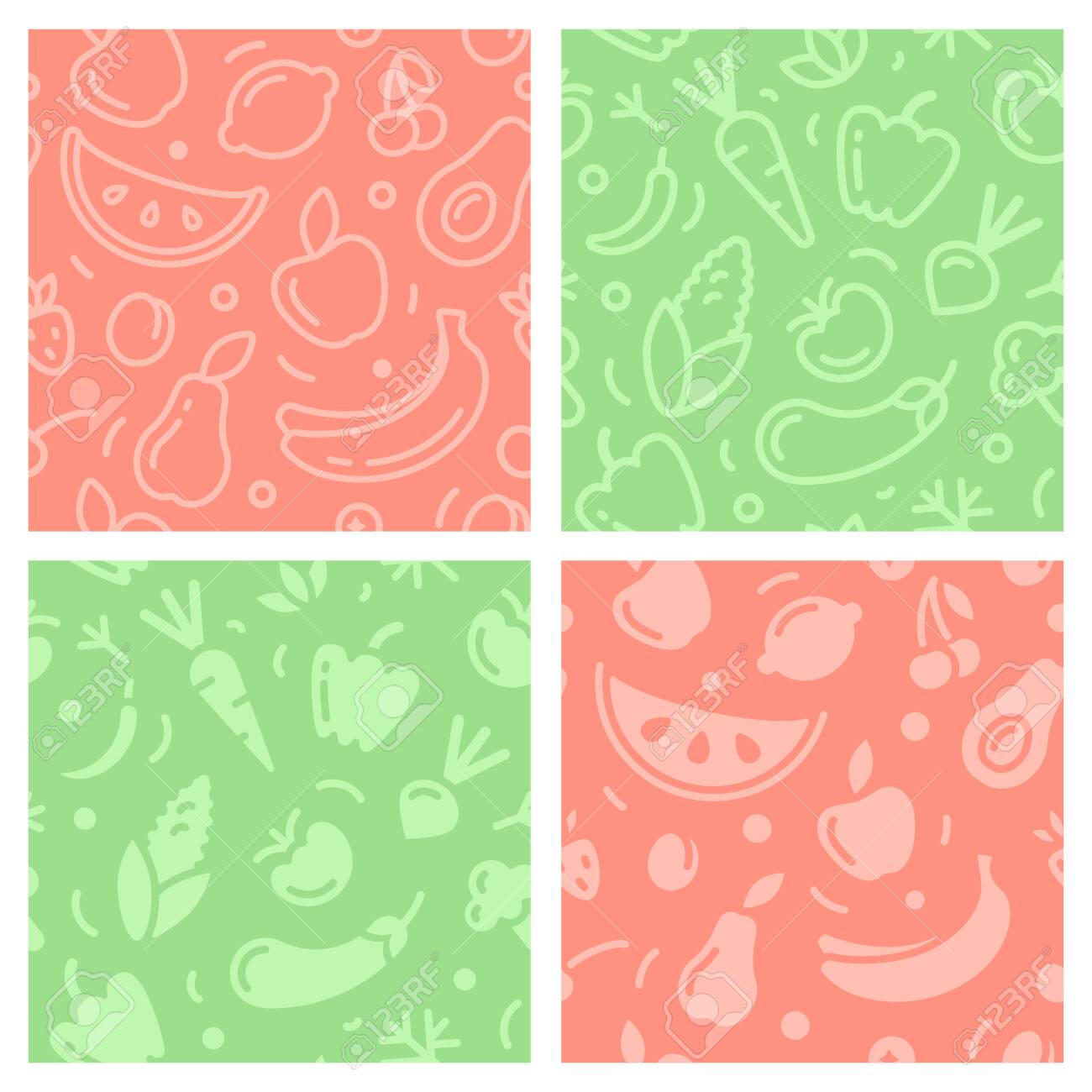 Seamless patterns set with fruits and vegetables. Suitable for wallpaper, wrapping or textile - 127023257