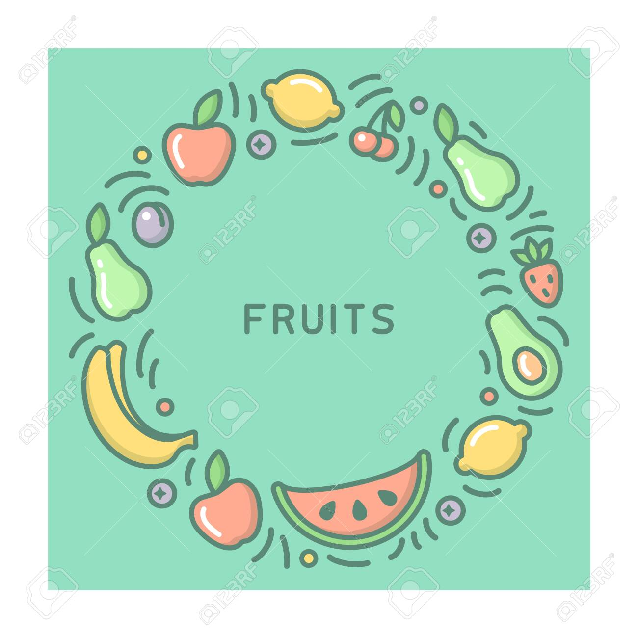 Round form concept with fruits and barries. Cartoon style vector illustration - 127023268