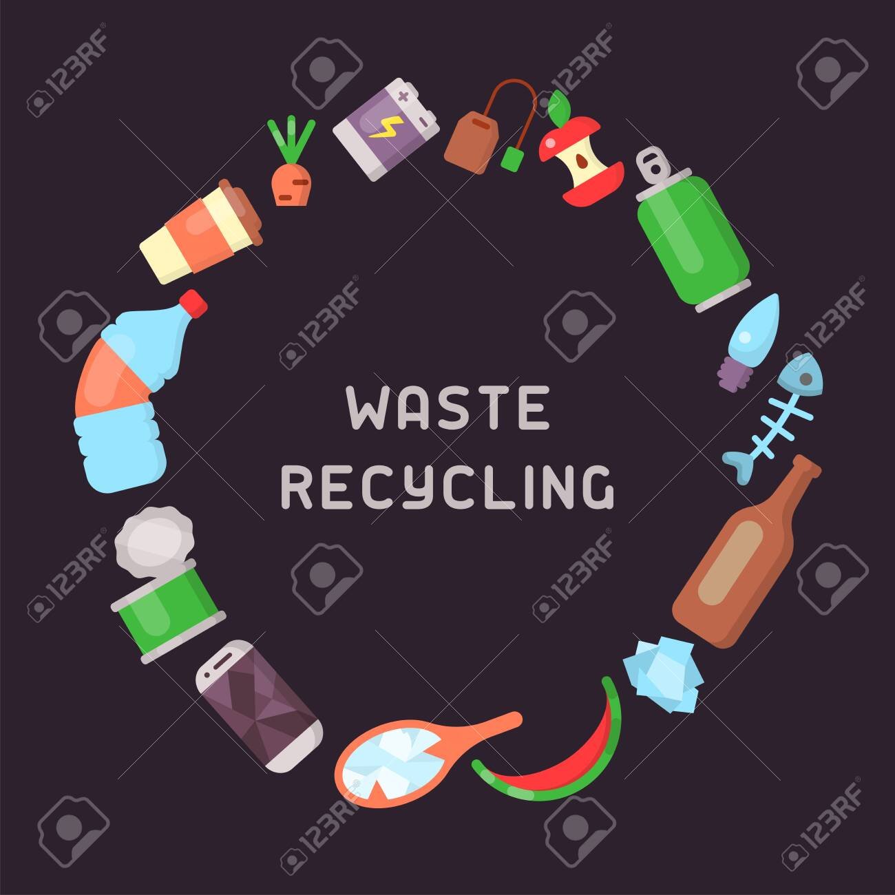 Round concept with different types of garbage and place for your text. Flat style vector illustration - 129013059