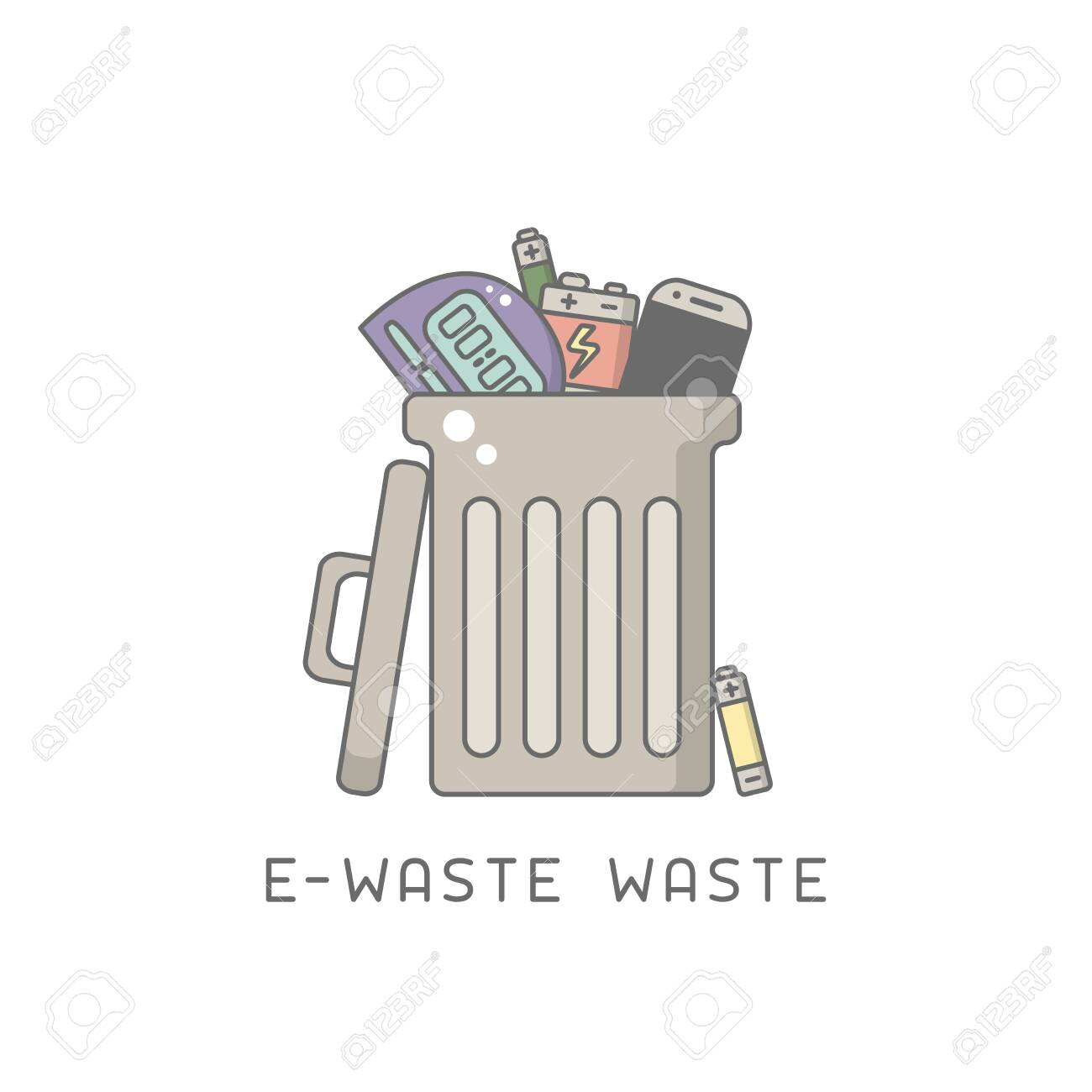 Trash can with e-waste. Cartoon style vector illustration. - 129013058