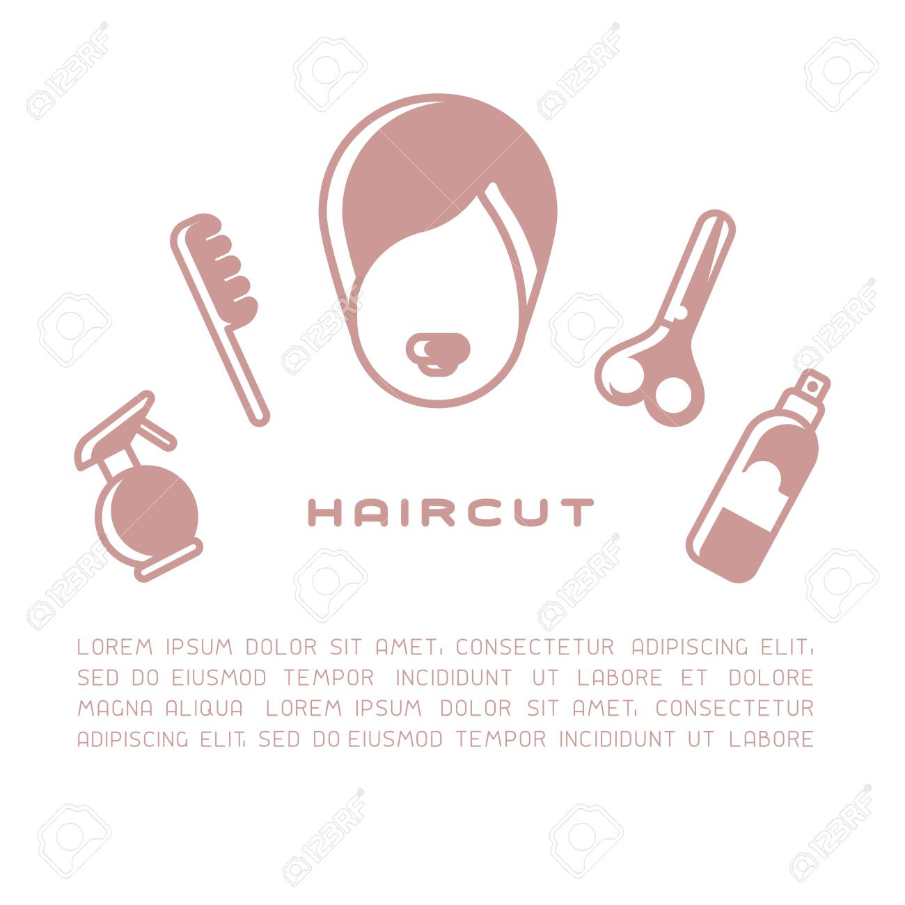 Female head surrounded by haircut tools. Flat style vector illustration - 129013093