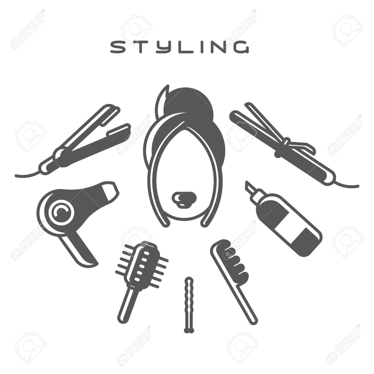 Female head surrounded by styling tools on white background. Flat style vector illustration - 129013094