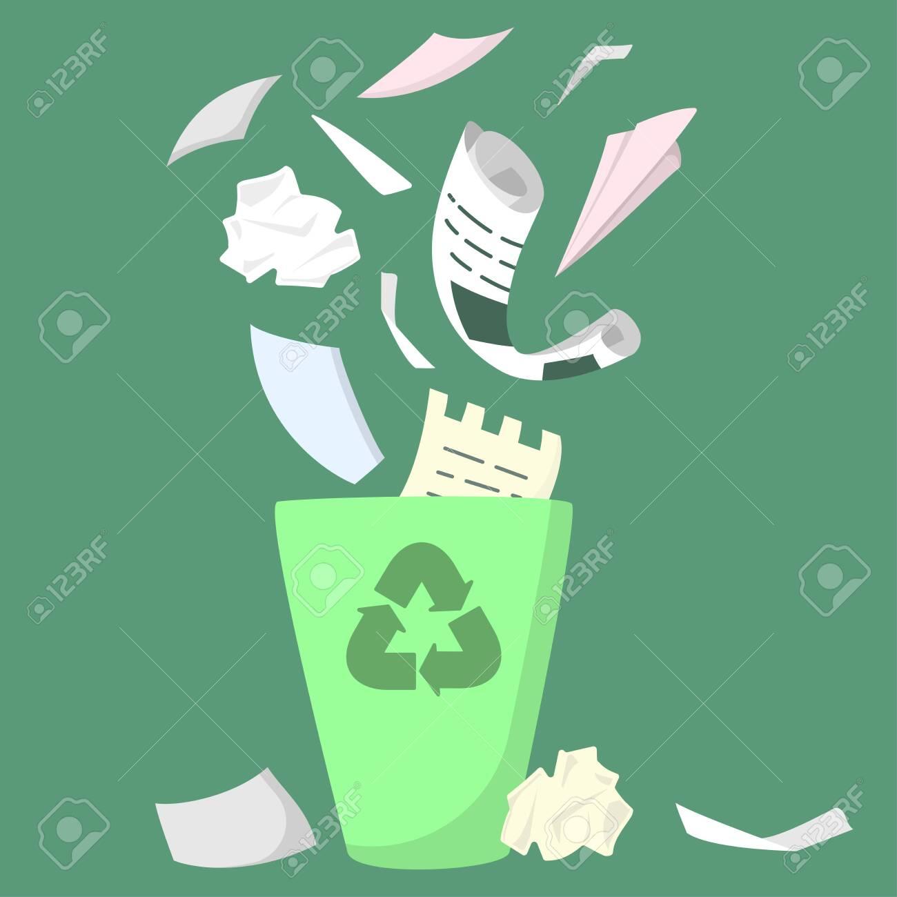 Waste paper bin. Flat style vector illustration - 129013190