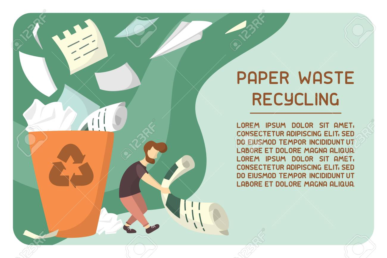 Info placard concept with waste paper bin and sample text about recycling. Flat style vector illustration - 129013209