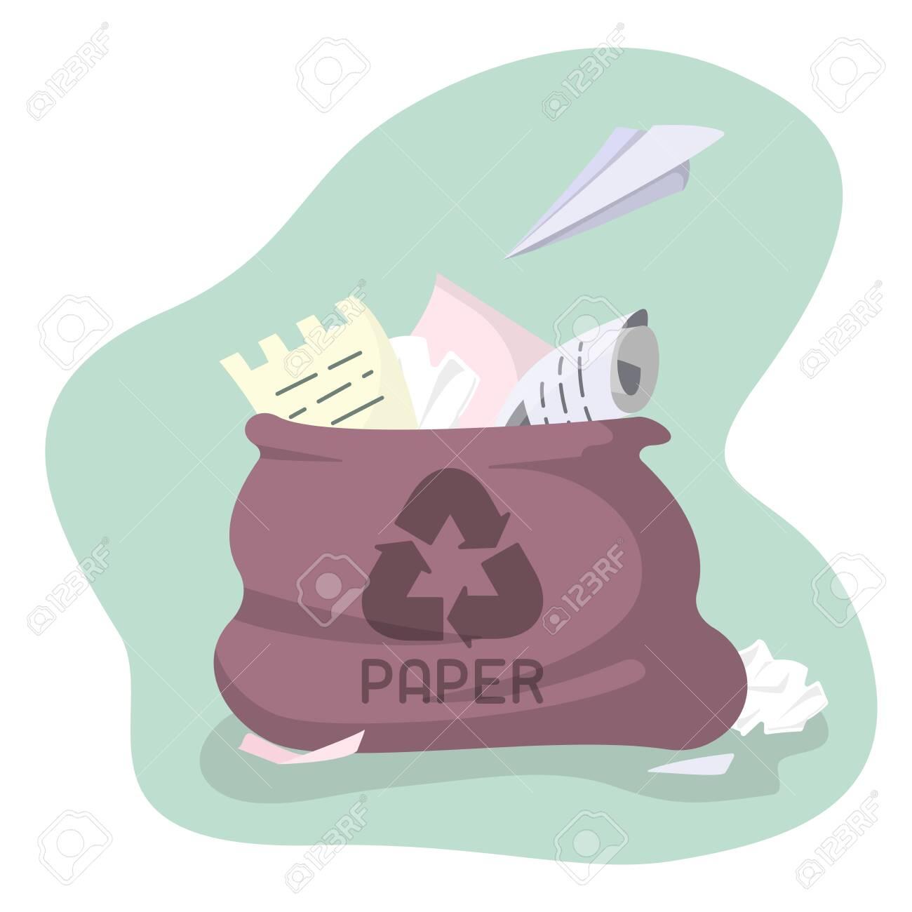 Waste paper bag. Flat style vector illustration - 129013202