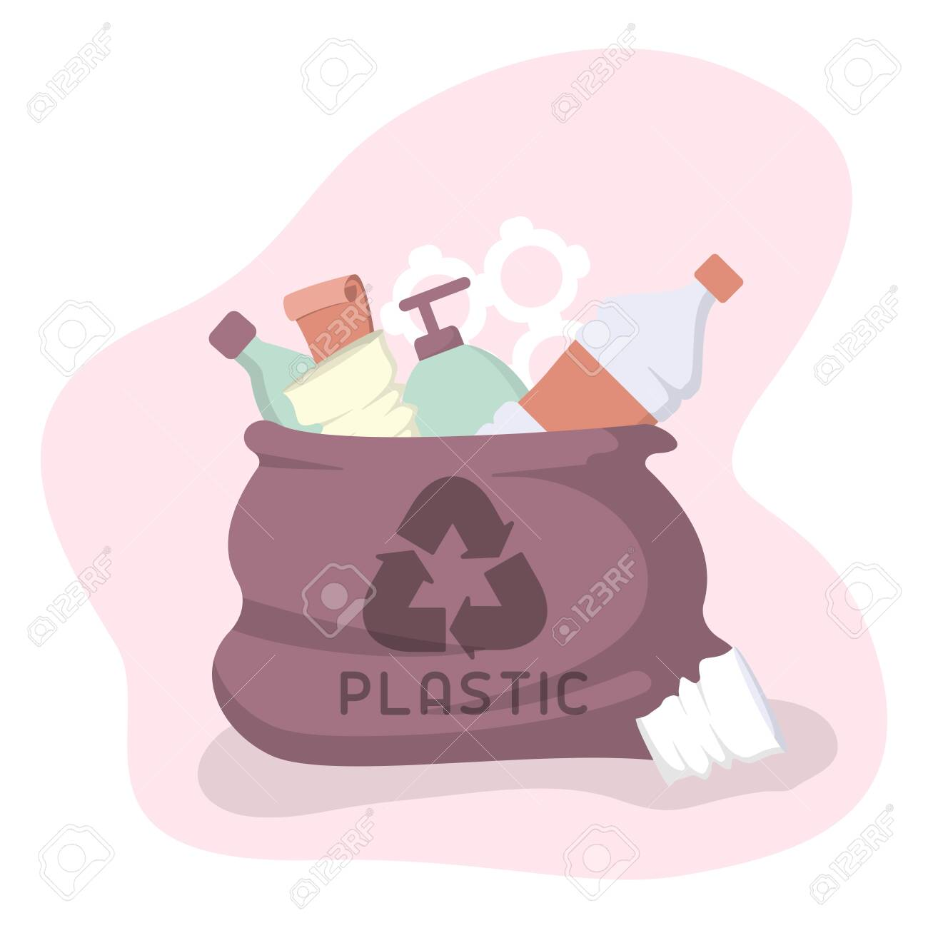 Bag with plastic trash. Flat style vector illustration - 129013188