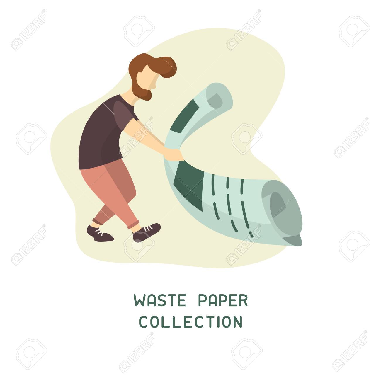 Waste paper collection placard concept with man collects trash. Flat style vector illustration - 129013216