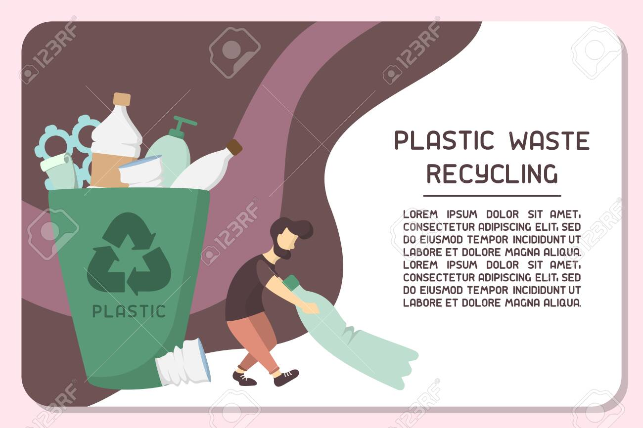 Info placard concept with plastic waste bin and sample text about recycling. Flat style vector illustration - 129013200