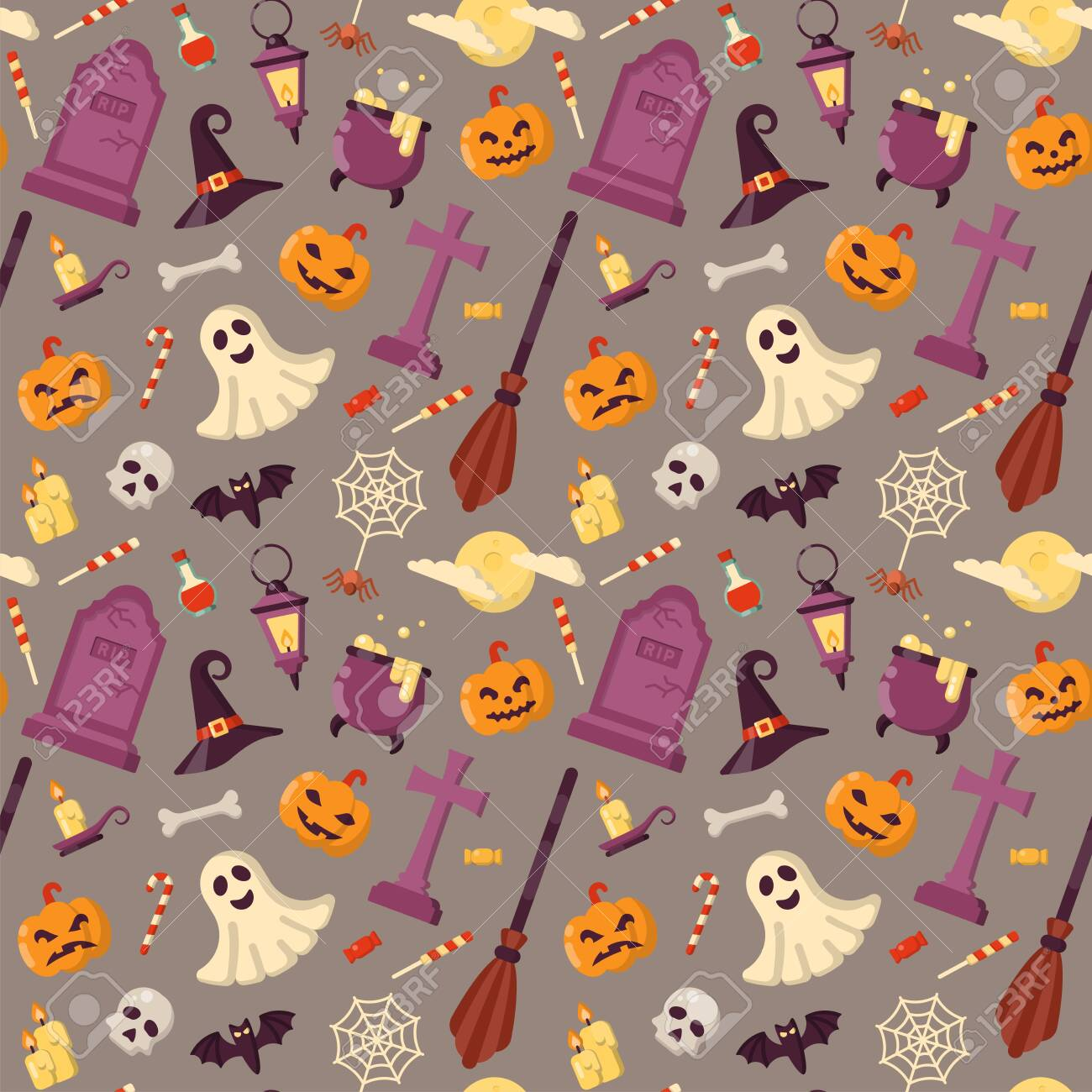 Seamless pattern with bright halloween accessories in flat style - 128934711