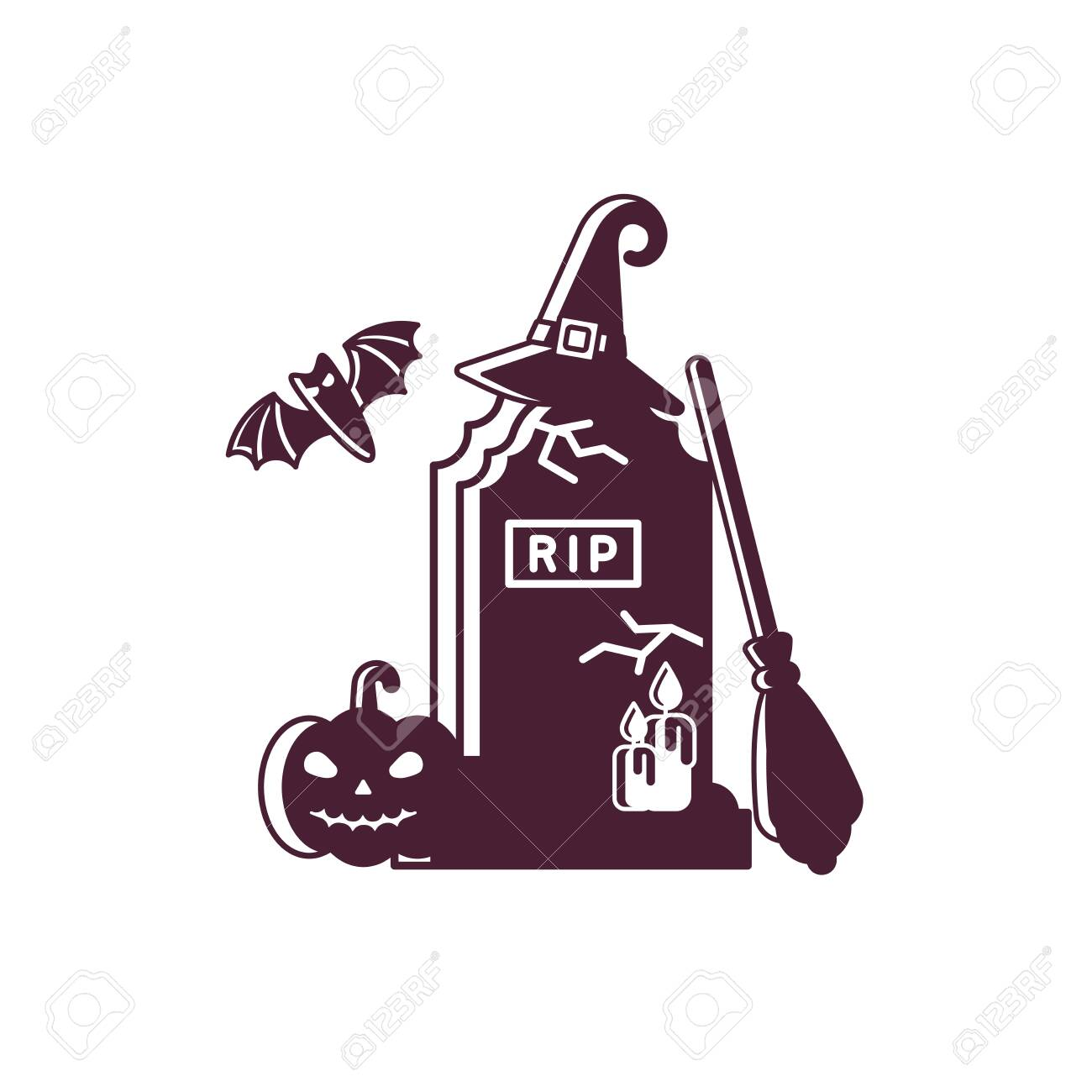 halloween logotype concept with gravestone, broom, hat and pumpkin in flat style - 129013265