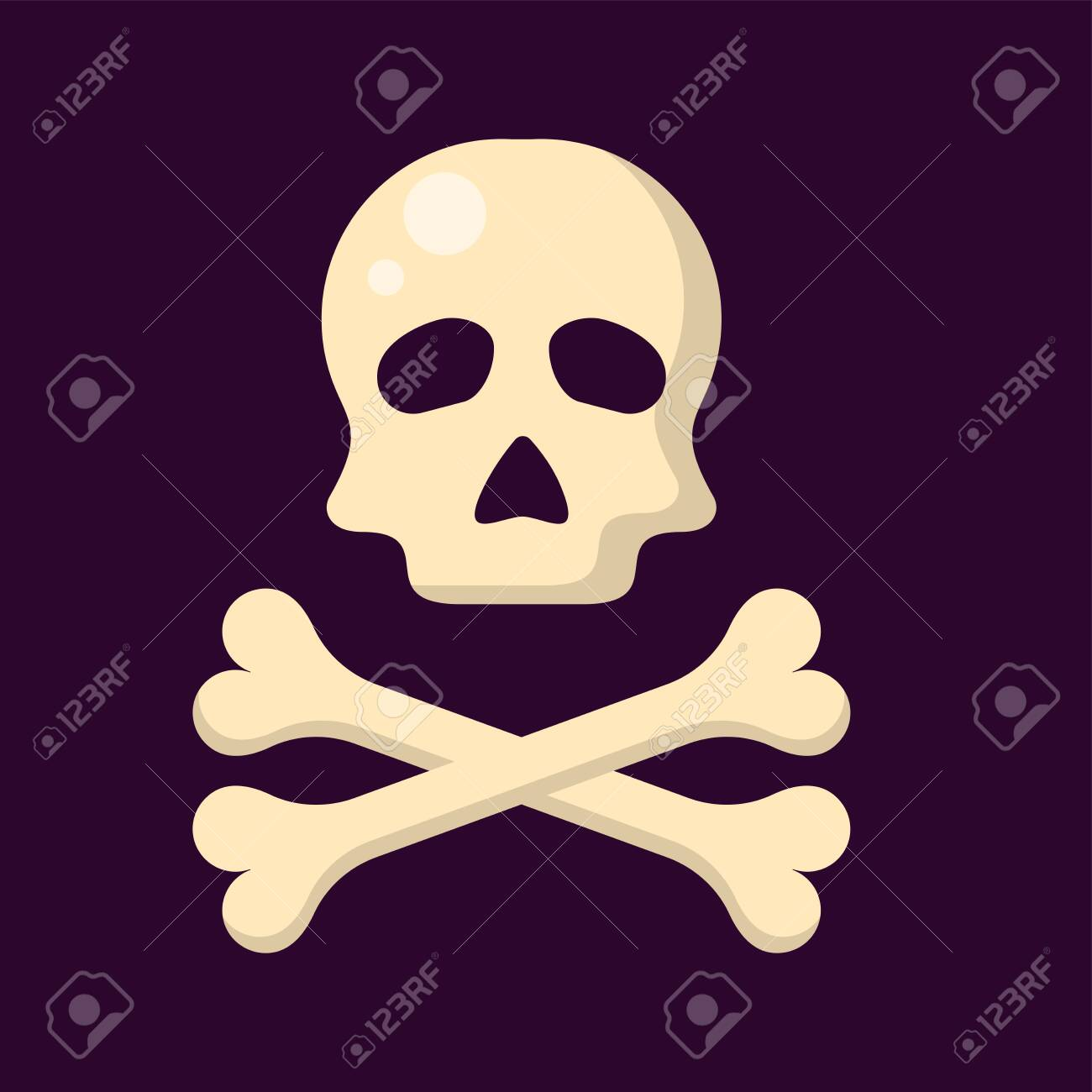 skull and crossbones on a dark background in flat style - 129013692
