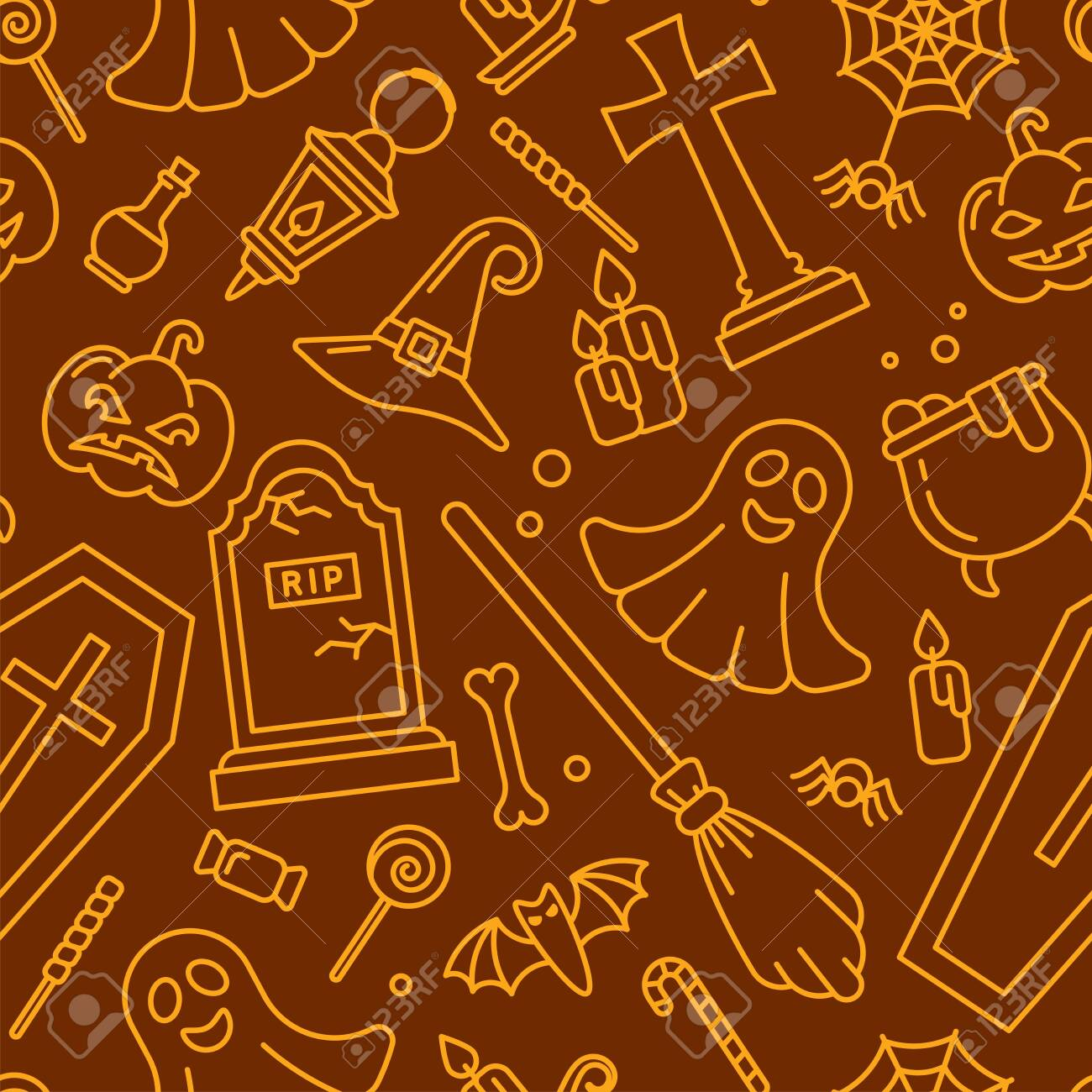 Seamless pattern with halloween elements in contour style. Suitable for wallpaper, wrapping or textile - 130984731