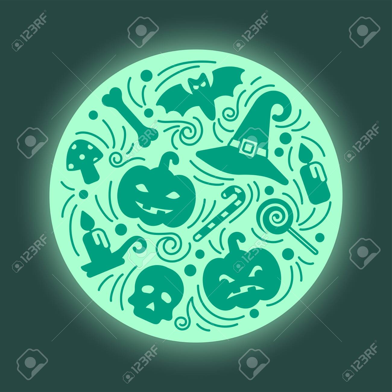 Halloween card round concept in doodle style - 130984727