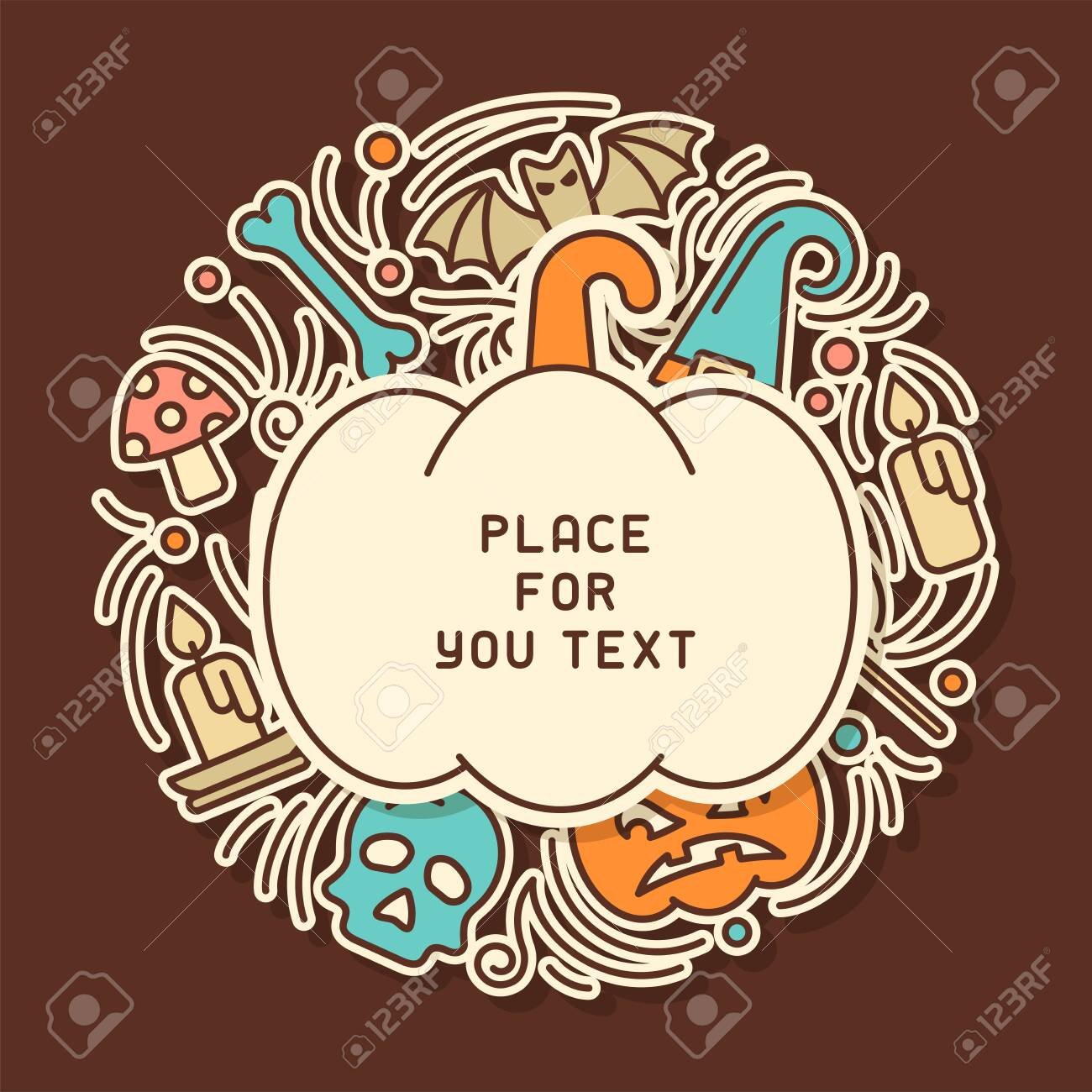 Halloween card round concept in doodle linear style.There is place for your text - 130984730