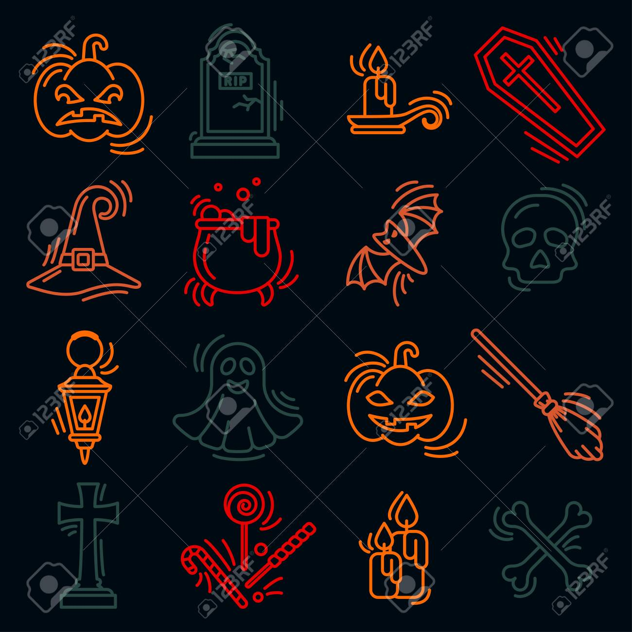 Halloween icons set in contour style. Isolated on dark background - 130984734