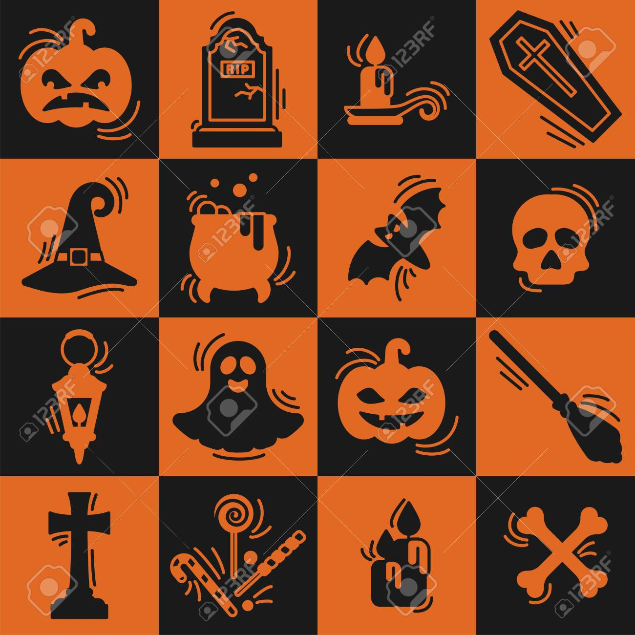 Halloween icons set in flat style. Suitable as stickers - 130984732